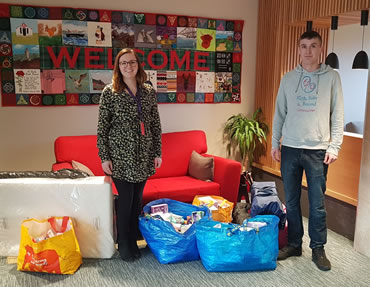 Craig dropping off donations to Ronald McDonald House, Glasgow