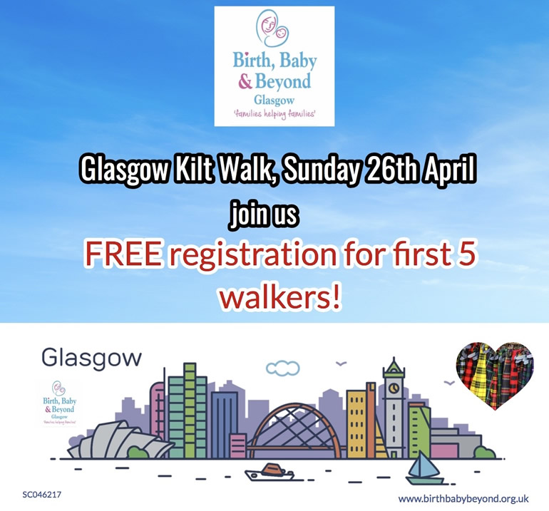 Glasgow Kilt Walk, Sunday 26th April 2020 - FREE registration for the first 5 walkers!