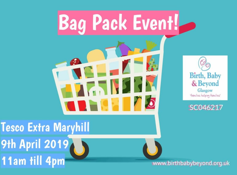 Bag packing at Tesco Extra, Maryhill on Tuesday 9th April from 11am - 4pm